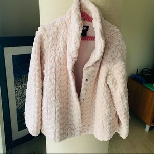 H&M 5-6Y girls pink faux fur coat